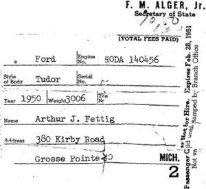1950 Ford Tudor Registration